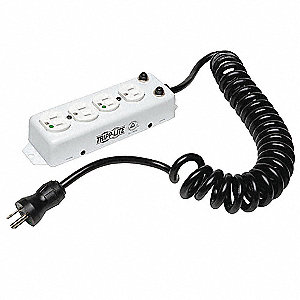 10 ft. Metal Outlet Strip with 4 Outlets, White
