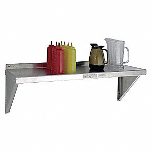 "Solid Aluminum Wall Shelf, 48""W x 15""D x 13-1/4""H, No. of Shelves: 1"