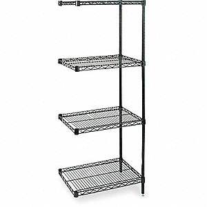 SHELVING,ADD-ON,H 74,W 24,D 24,BLAC