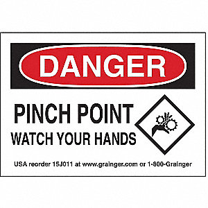 "Keep Hands Clear, Danger, Vinyl, 3-1/2"" x 5"", Adhesive Surface"
