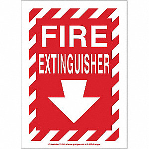 "Fire Equipment, No Header, Vinyl, 14"" x 10"", Adhesive Surface"