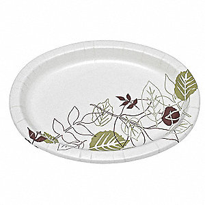 "8-1/2"" Round Disposable Plate, White/Brown/Green&#x3b; PK500"