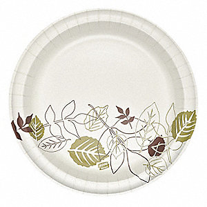 "10-1/8"" Round Disposable Plate, White/Brown/Green&#x3b; PK500"
