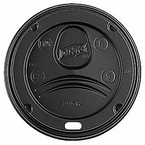 12 to 20 fl. oz. Plastic Dome, Sip Through Hot Cup Lid, Black, 1000 PK