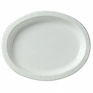 "8-5/8"" x 11"" Oval Disposable Plate, White&#x3b; PK500"