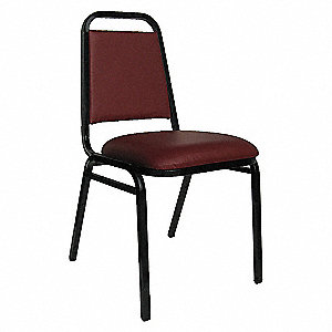 STACK CHAIR BURGUNDY VINYL