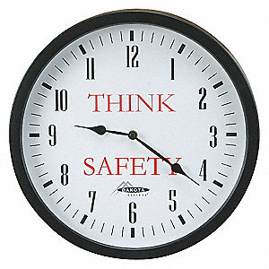 CLOCK WALL W/THINK SAFETY FACE