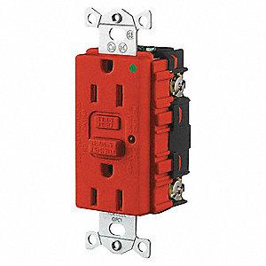 15A 125V COM HOSP LED GFCI RD