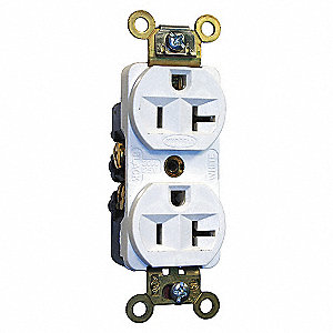 RECEPTACLE 20A 125V DUP STR WHITE