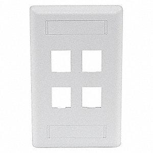 PLATE WALL FLUSH 1G 4PORT WHITE