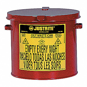 COUNTERTOP OILY WASTE CAN, 2 GAL, RED