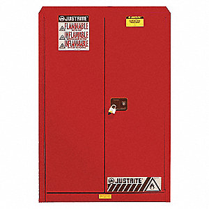 FLAMMABLES SAFETY CABINET, 45 GAL, RED