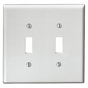 WALLPLATE MID 2G TOGGLE WHITE