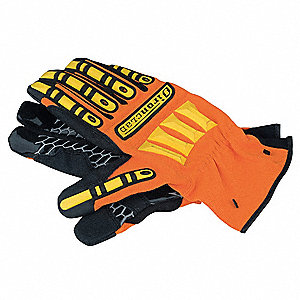 General Utility Mechanics Gloves, Synthetic Leather Palm Material, Orange/Yellow, L, PR 1