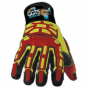 Cut Resistant Gloves, ANSI/ISEA Cut Level 5, SuperFabric® Lining, Yellow/Red, L, PR 1