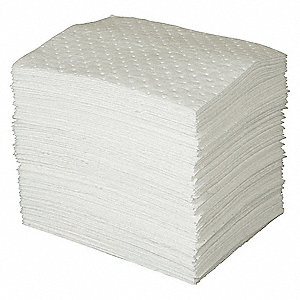 "Oil-Based Liquids Absorbent Pad, Heavy, 3 Ply, 19"", 100PK"
