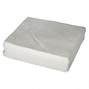 "19"" x 15"" Heavy Absorbent Pad for Oil Only / Petroleum, White&#x3b; PK50"