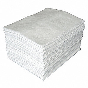 "19"" Absorbent Pad, Fluids Absorbed: Oil-Based Liquids, Light, 26 gal., 100 PK"