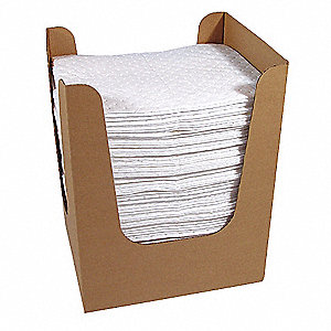 "19"" x 15"" Heavy Absorbent Pad for Oil-Based Liquids, White, 150PK"