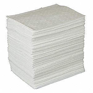 "17"" Absorbent Pad, Fluids Absorbed: Oil-Based Liquids, Light, 34 gal., 200 PK"