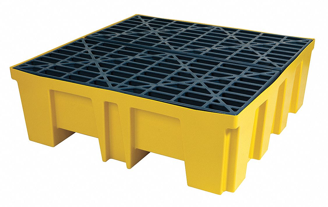BRADY SPC ABSORBENTS Spill Containment Pallets, Uncovered, 128 gal Spill  Capacity, 5,000 lb - 15U901|SC-DP4 - Grainger