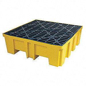 Spill Containment Pallets, Uncovered, 128 gal. Spill Capacity, 5000 lb.