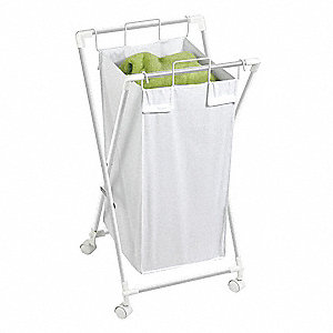 "White Folding Hamper with Casters 18-1/2"" L X 33"" W X 33"" H, Metal"