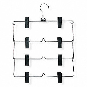 Metal Fold Up Skirt Hanger with Chrome/Black Finish; PK1