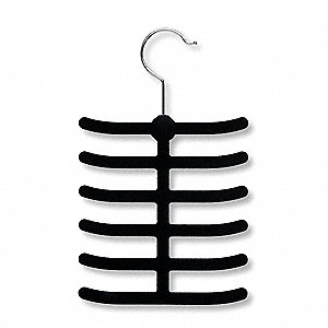 Flock Coated Metal Tie Hanger with Black Finish; PK2