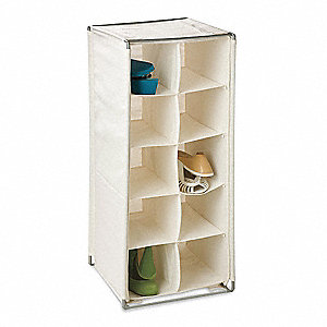 "Shoe Rack 12"" L X 12"" W X 29"" H, Natural Canvas/Chrome Frame"