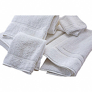 "54"" x 27"" 50/50 Polyester/Cotton Base, 100% Cotton Loops Bath Towel, White&#x3b; PK12"