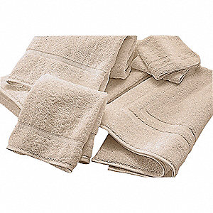 "30"" x 16"" 50/50 Polyester/Cotton Base, 100% Cotton Loops Hand Towel, Ecru&#x3b; PK24"