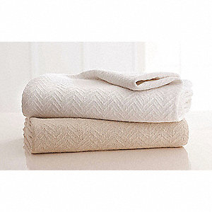 "90"" x 66"" Twin 100% Cotton Blanket, White"