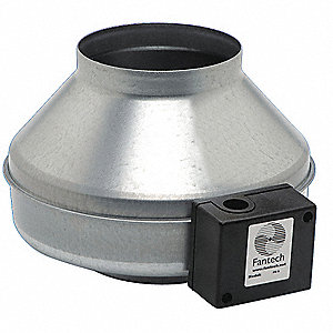 "Galvanized Steel Inline Fan, Fits Duct Dia. 6"", Voltage 120V"