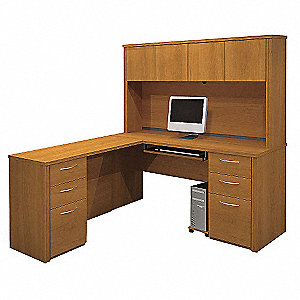 "66"" x 70"" x 66-3/4"" Embassy Series L-Shape Workstation, Cappuccino Cherry"