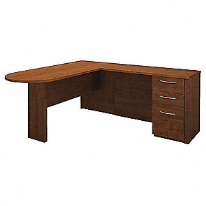 "73-5/8"" x 66"" x 30-3/8"" Embassy Series L-Shape Workstation, Tuscany Brown"