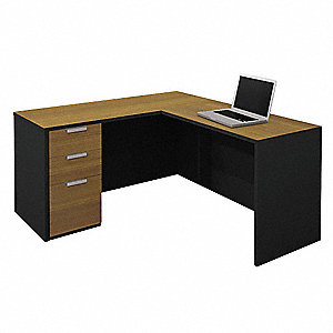 "59-1/2"" x 63"" x 29-7/8"" Pro-Concept Series L-Shape Workstation, Milk Chocolate Bamboo/Black"