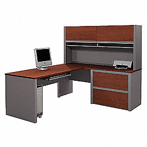 "82-3/4"" x 71"" x 65-3/4"" Connexion Series L-Shape Workstation, Bordeaux/Slate"