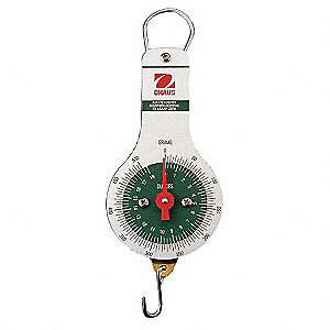 Mechanical Hanging Scale, Analog Dial Display, 2000g/72 oz. Capacity, 10g/0.5 oz. Graduations