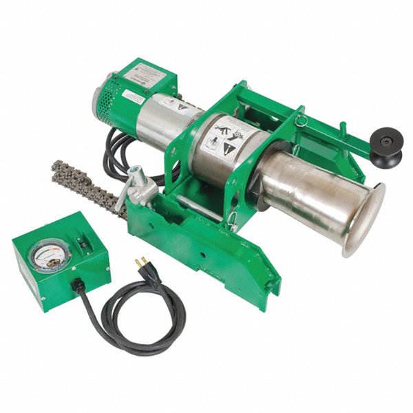 Greenlee Rentals: GREENLEE Cable Puller,8000 Lb,120V,w/Chain Mount
