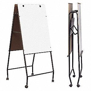 "Gloss-Finish Melamine Dry Erase Board, Easel Mounted, Mobile/Casters, 41""H x 28-3/4"""