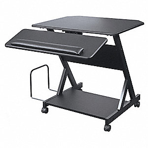 Computer Workstation,1 Shelf,Black
