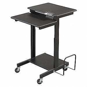 A/V Workstation,2 Shelf,Black