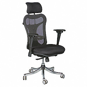 "Ergo Black Fabric-Upholstered Padding Executive Chair, 51"" Overall Height"