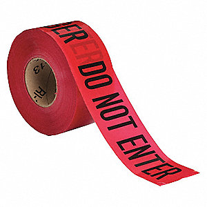 "Barricade Tape, Red/Black, 3"" x 1000 ft., Danger Do Not Enter"