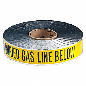 "Detectable Underground Tape, Yellow/Black, 2"" x 1000 ft., Caution Buried Gas Line Below"