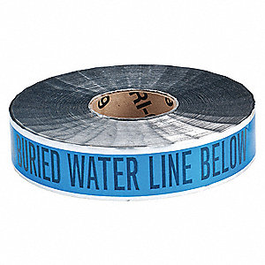 "Detectable Underground Tape, Blue/Black, 2"" x 1000 ft., Caution Buried Water Line Below"