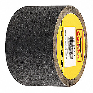 "Solid Black Anti-Slip Tape, 4"" x 60.0 ft., 80 Grit Silicon Carbide, Rubber Adhesive, 1 EA"