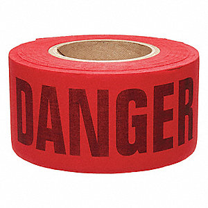 "Biodegradable Barricade Tape, Red/Black, 3"" x 135 ft., Danger"