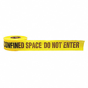 "Barricade Tape, Yellow/Black, 3"" x 1000 ft., Confined Space Do Not Enter"